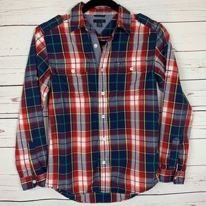 Tommy Hilfiger Full Button Dress Shirt, Plaid